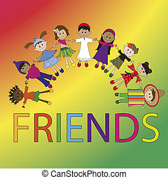friends - illustration of friends with funny children