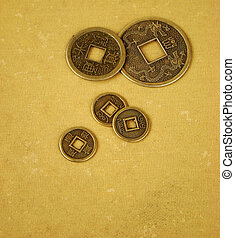 Chinese feng shui coins for good fortune and success in old...