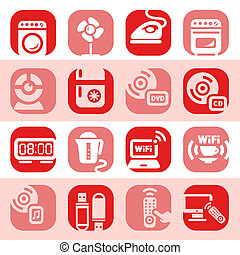 color electronic home devices icons - Elegant Colorful...
