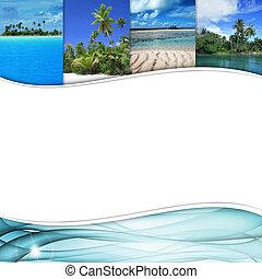 esquema, tropicais, paisagem, azul, onda