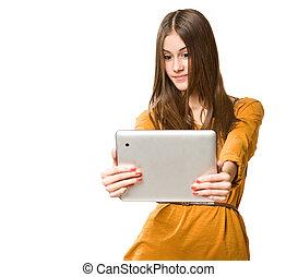 Beautiful teen using tablet computer - Portrait of beautiful...