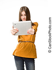 Cool teen girl using tablet device - Portrait of a cute cool...