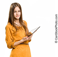 Cool teen girl using tablet device. - Portrait of a cute...