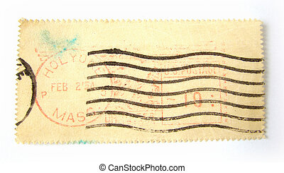 Blank postage stamp with postmarks