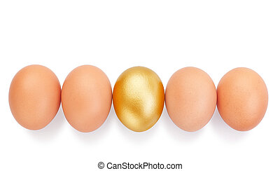 Chicken eggs in a row and in the middle a golden Easter.
