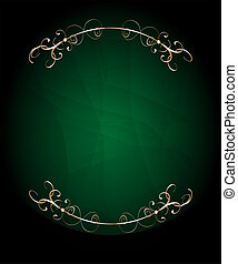 green card with golden floral frame