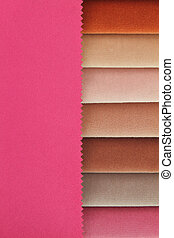 Color background of pink tones fabric samples