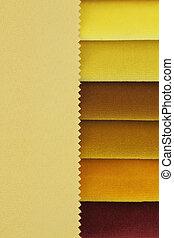cor, Amostras, amarela, fundo, tecido