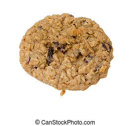 Oatmeal raisings cookie. Isolated on white.
