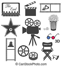 Movie icons  - Set of black movie icons on white background