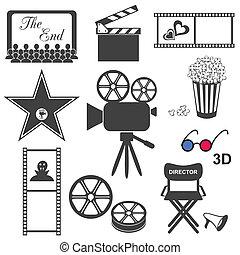 Movie icons  - Set of black movie icons on white background