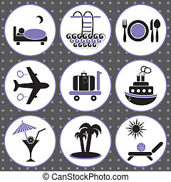Traveling and accommodation icons - Set of black and violet...
