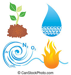 Symbols of four elements - Set of symbols of four elements,...