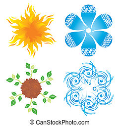 Symbols of four elements - Set of round blossom-like symbols...
