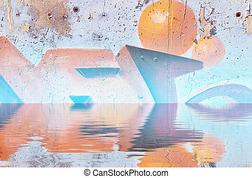 colorful graffiti wall with reflection in water