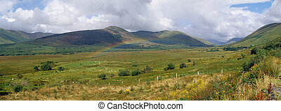 Ireland / Connemara panoramic view - Lush landscape in...