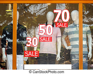 Listing sale on store showcases