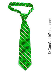 green striped necktie on a white background