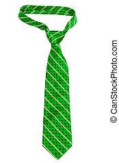 green striped necktie on a white background