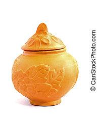Thai clay pot on white background