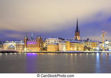 Old Town Stockholm city at Night Sweden - Cityscape of Gamla...