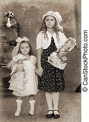 Two little girls Vintage Photograph - Two little girls...