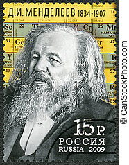 RUSSIA - CIRCA 2009: A stamp printed in Russia shows Dmitri...
