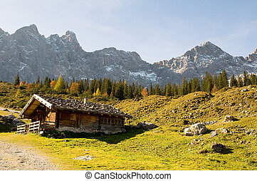 mountain hut in the fall - alpine mountain hut in the...