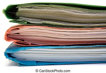 Red, Green and Blue Binder - Stacked colored binders...