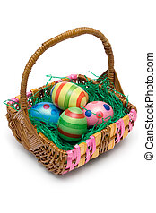 Easter Basket - Wooden basket full of Easter eggs Isolated...