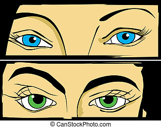 Eyes set - Pop Art/ comic style drawign of women eyes.