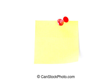 Yellow sticky note with pushpin - Yellow blank sticky note...