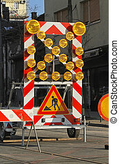 Road works construction traffic signs and lights
