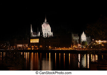 Budapest parlament at night with reflection