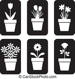 Icon of pot plants set - Set of icon of flowers in pots