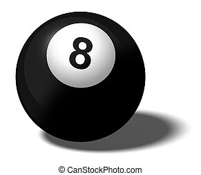 8 BALL - Illustration of a pool ball marked with the number...