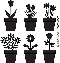 Pot plants set - Set of silhouettes of flowers in pots