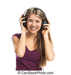Cheerful woman listening music