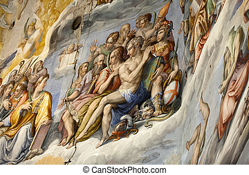 Florence - Duomo .The Last Judgement. Inside the cupola:...