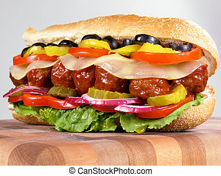Meatball Sub Sandwich - Meatball submarine sandwich with...