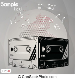 Audiocassette Vector illustration.