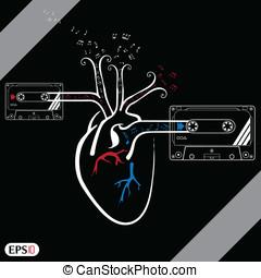 Vintage audio cassette illustration with heart vector