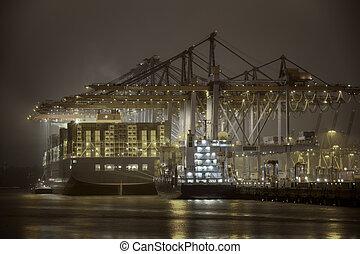 Hamburg - Container Terminal in Hamburg, Germany. Night shot