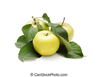Three apples with leaves isolated on white