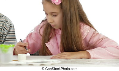 Child Painting - Little Girl Painting