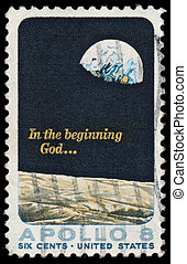 Apollo 8 - moon landing stamp 1969 - Earth seen from the...