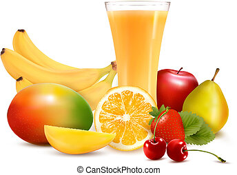Fresh color fruit and juice Vector illustration