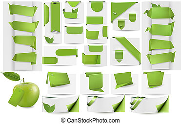 Collection with Eco tags and labels and stickers. Vector...