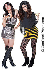 Hispanic Club Girls - Sassy Hispanic club girls in mini...