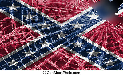Broken ice or glass with a flag pattern, Confederate flag -...